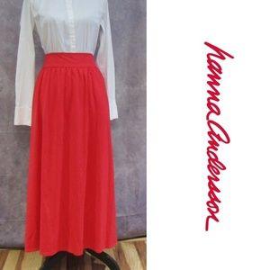 NEW Love, Hanna Hanna Andersson Red Maxi Skirt XL